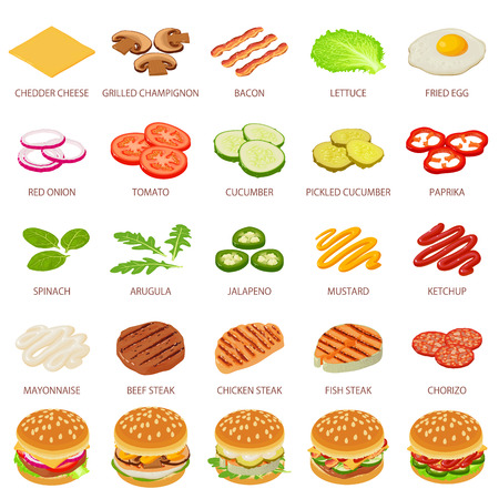 Burger ingredient icons set, isometric style Иллюстрация