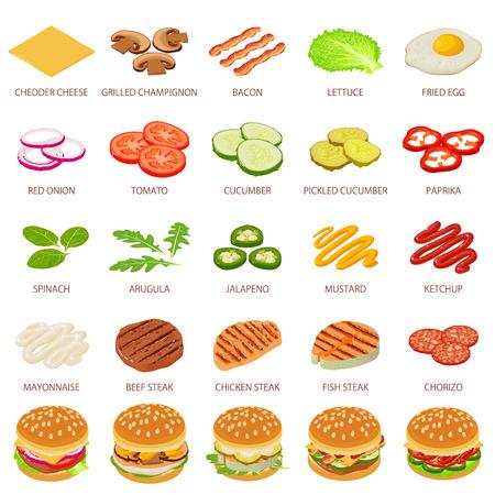 Burger ingredient icons set, isometric style Illustration