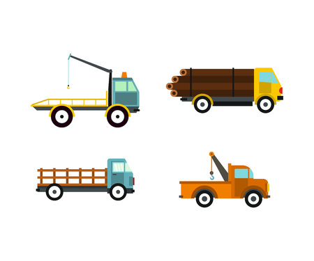 Wrecker icon set, flat style Illustration
