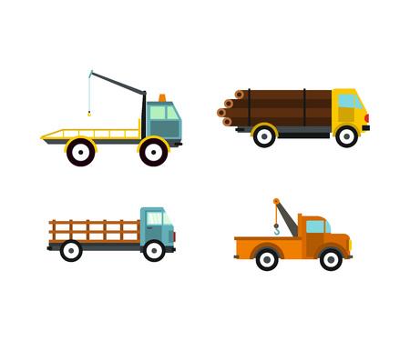 Wrecker icon set, flat style Stock Illustratie