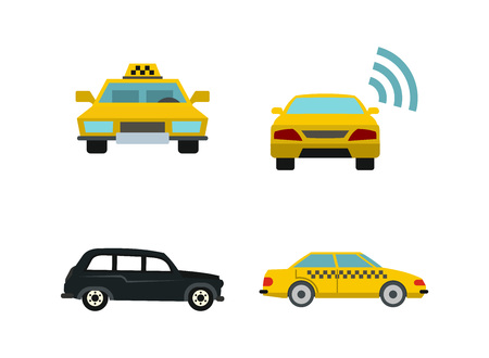 Taxi car icon set. Flat set of taxi car vector icons for web design isolated on white background
