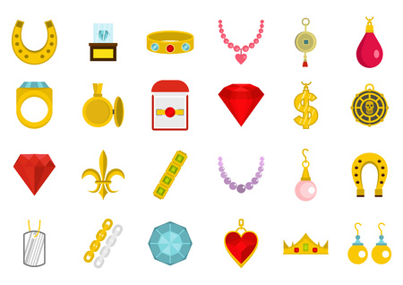 Jewerly icon set. Flat set of jewerly vector icons for web design isolated on white background