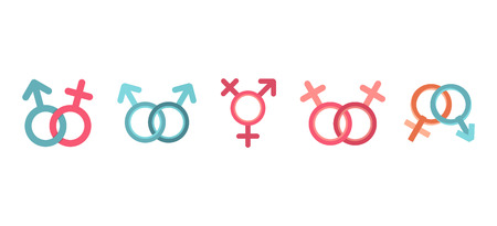 Gender symbol icon set, flat style