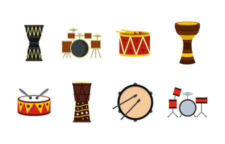 Drums icon set. Flat set of drums vector icons for web design isolated on white background