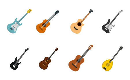 Guitar icon set. Flat set of guitar vector icons for web design isolated on white background.