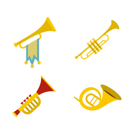 Trumpet icon set, flat style Illustration