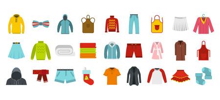 Clothes icon set, flat style
