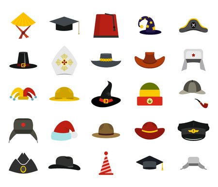 Hat icon set. Flat set of hat vector icons for web design isolated on white background Illustration