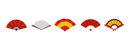 Hand fan icon set, flat style