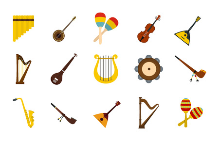 Musical instrument icon set. Flat set of musical instrument vector icons for web design isolated on white background Illustration