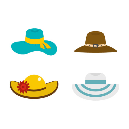 Woman hat icon set, flat style