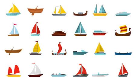 Boat icon set, flat style