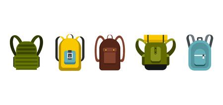 Backpack icon set, flat style Illustration