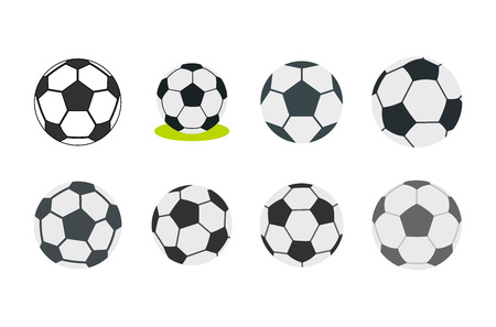 Soccer ball icon set, flat style