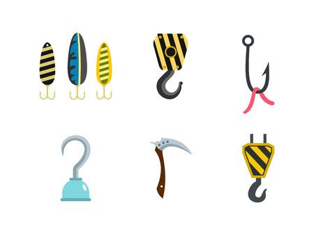 Hook icon set, flat style Illustration