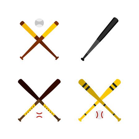 Baseball bat icon set, flat style