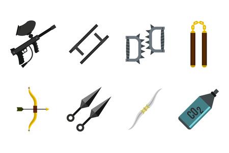 Weapons icon set, flat style Illustration