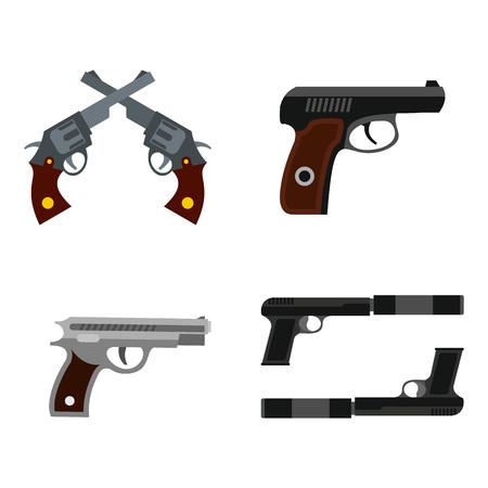 Pistol icon set, flat style