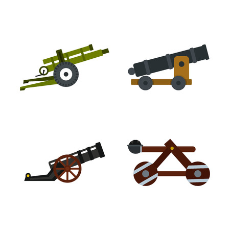 Assault machine icon set, flat style