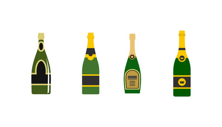 Champagne icon set. Flat set of champagne vector icons for web design isolated on white background