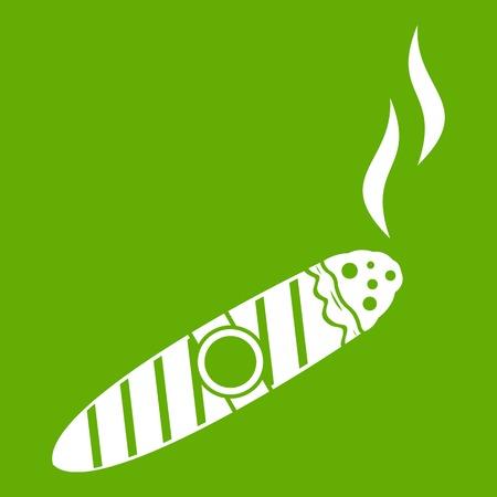 Cigar icon green. Illustration
