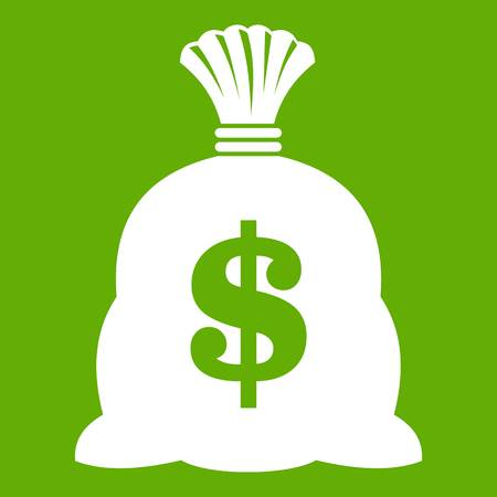 Money bag with US dollar sign icon green. Illustration