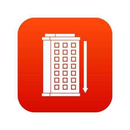 Tall building and down arrow icon digital red Illusztráció