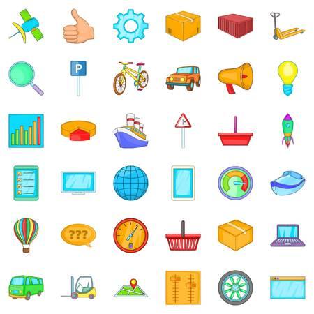 Acquisition icons set, cartoon style. Illustration