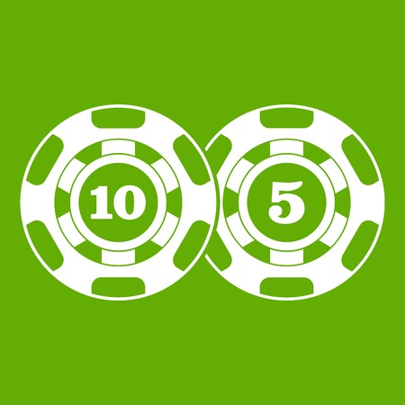 Poker chips nominal five and ten icon green