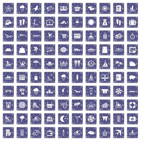 100 icônes de la station balnéaire de la mer vecteur saphir Banque d'images - 94112201