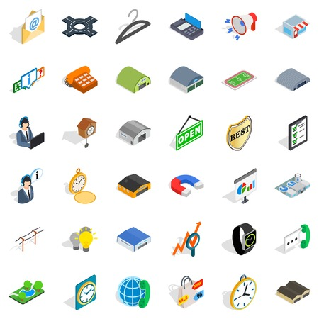 Consumer activity icons set, isometric style