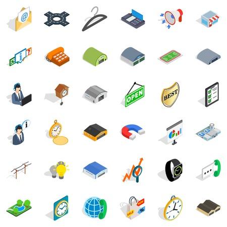 Consumer activity icons set, isometric style