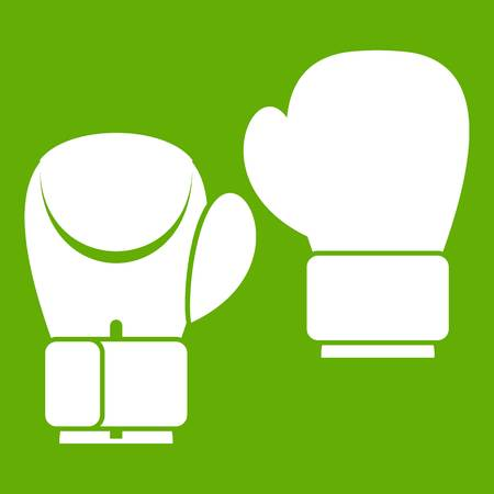 Boxing gloves icon white isolated on green background. Vector illustration Illustration