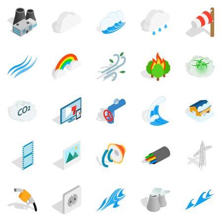 Intensity icons set. Isometric set of 25 intensity vector icons for web isolated on white background Illustration