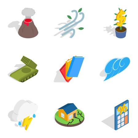Circumstances icons set. Isometric set of 9 circumstances vector icons for web isolated on white background Illustration