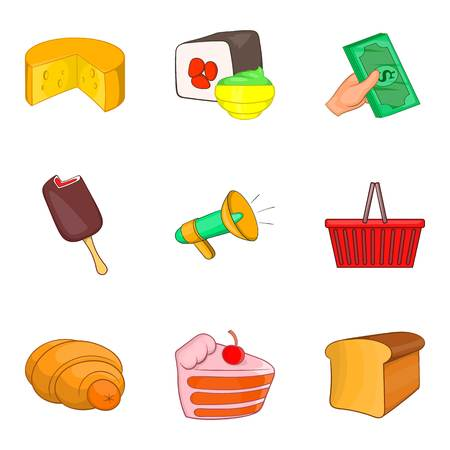 Delicatessen icons set. Cartoon set of 9 delicatessen vector icons for web isolated on white background Illustration