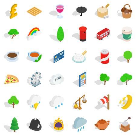 UK icons set isometric set of 36 UK vector icons for web isolated on white background.