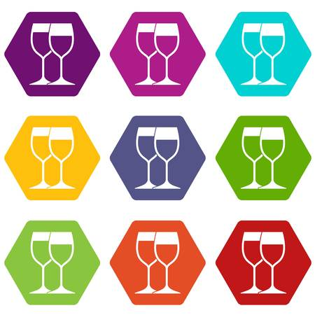 Wine glasses icon set color hexahedron