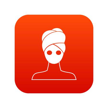 Spa facial clay mask icon digital red for any design isolated on white vector illustration Illustration