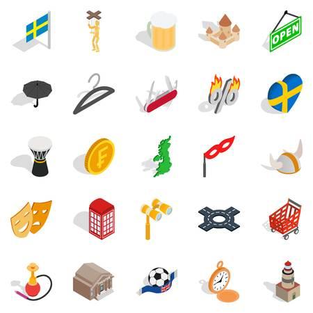 European union icons set, isometric style