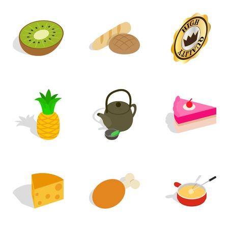 Fruit tree icons set, isometric style