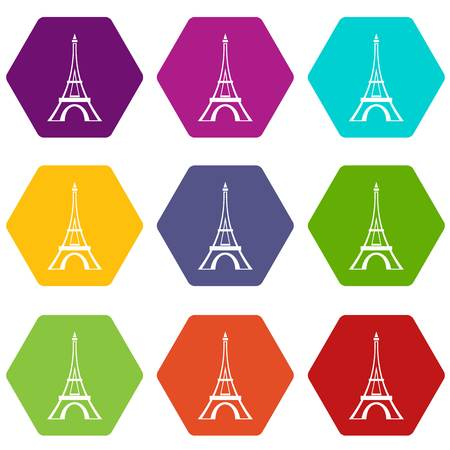 Eiffel tower icon set color hexahedron