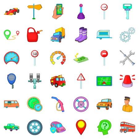 Motor lorry icons set, cartoon style