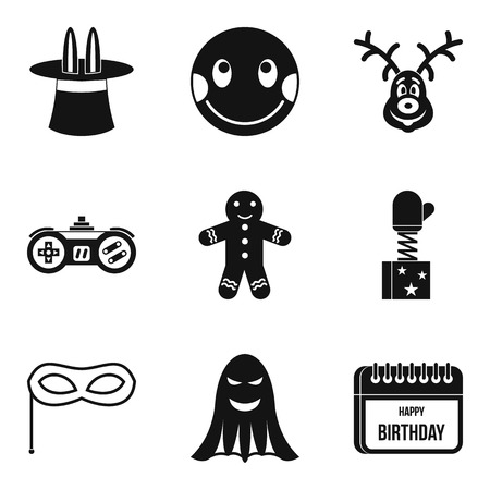 Merriment icons set, simple style
