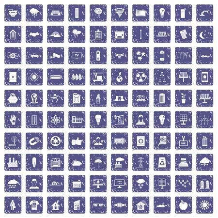 100 solar energy icons set grunge sapphire Ilustração
