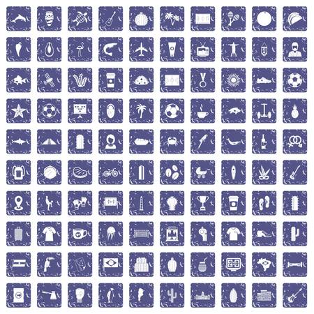 100 South America icons set in grunge style sapphire color isolated on white background vector illustration. 일러스트