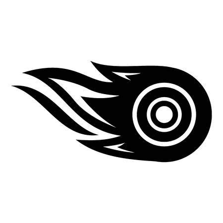 Wheel fire icon, simple black style Illustration