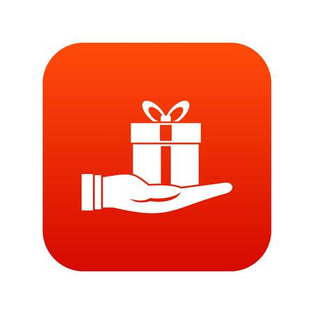 Gift box in hand icon digital red