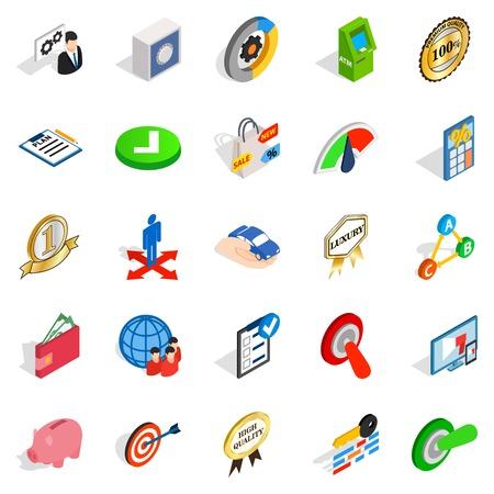 Dominance icons set, isometric style Иллюстрация