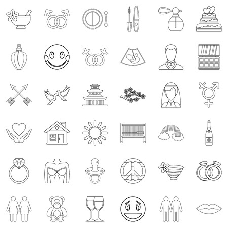 Love affair icons set, outline style